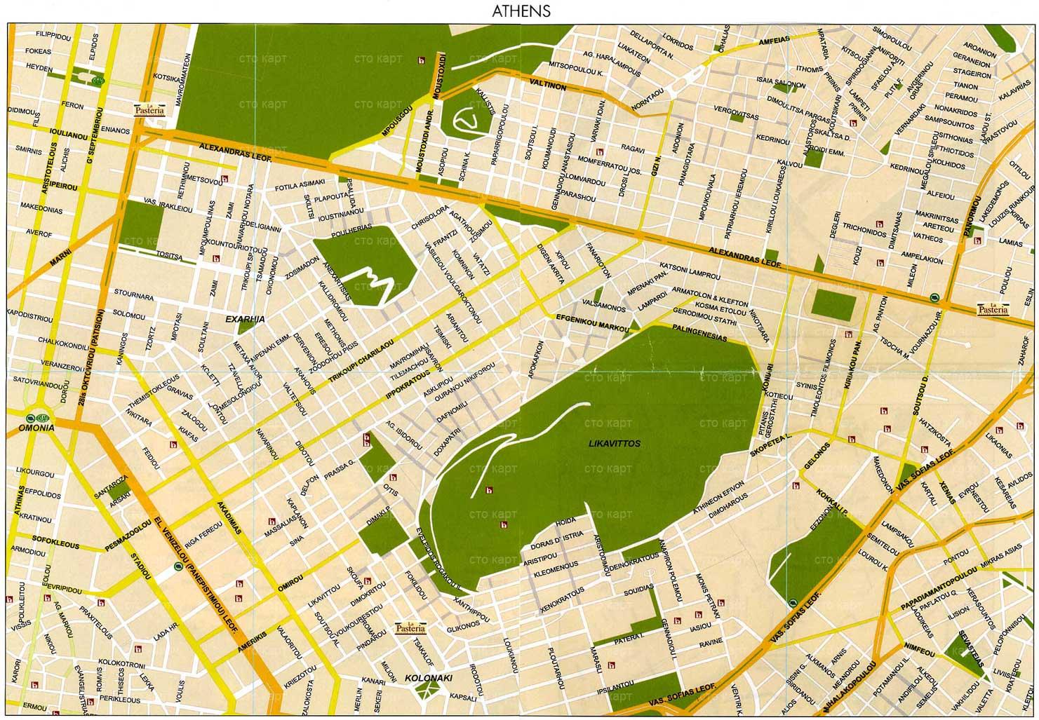 Афины карта города