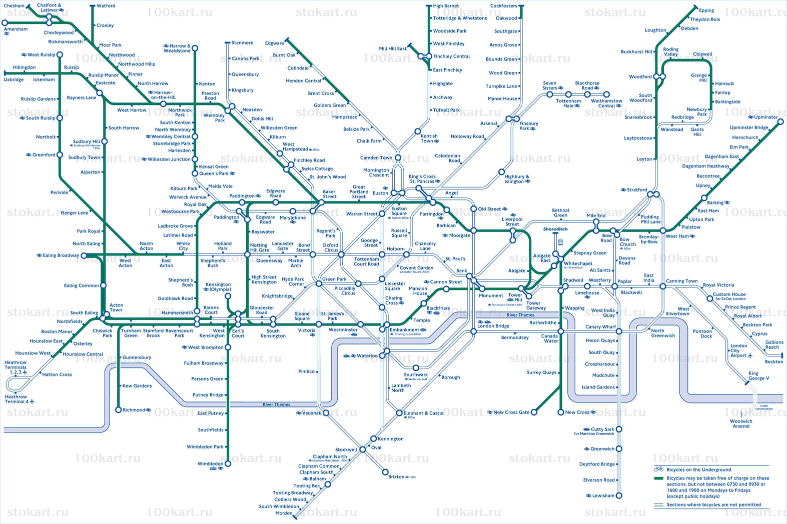 Схема метро в Лондоне со списком станций, на которые можно брать велосипед., а также карты Германии, Франции, Египта...